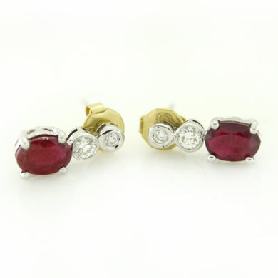 9ct White Gold Ruby and Diamond Drop Stud Earrings