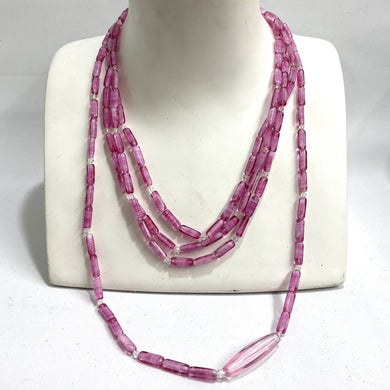 Sterling Silver Pink Murano Glass Beaded Necklace