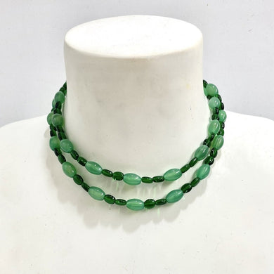 Sterling Silver Diopside and Chrysoprase Glass Beaded Necklace