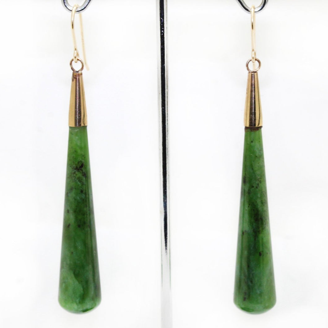 9ct Yellow Gold Nephrite Jade Drop Earrings