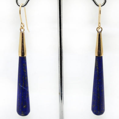 9ct Yellow Gold Lapis Lazuli Drop Earrings