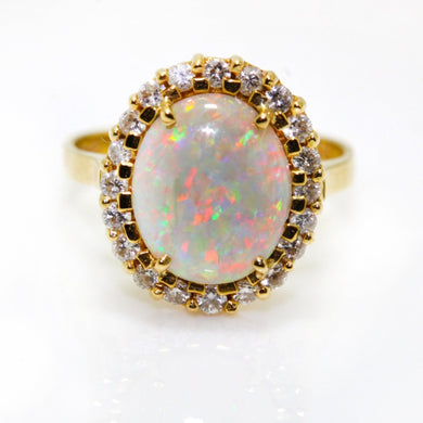 18ct Yellow Gold Semi Black Opal and Diamond Ring