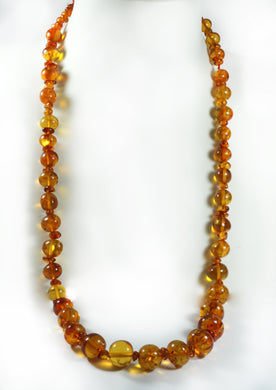 Graduated Beaded Amber Necklace
