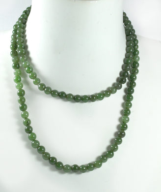 Vintage 9mm Nephrite Jade Beaded Necklace Extra Long