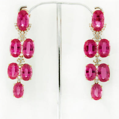 9ct Rose Gold Pink Tourmaline and Diamond Drop Earrings