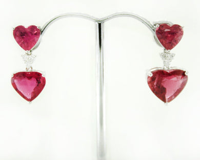 9ct White Gold Pink Tourmaline and Diamond Heart Drop Earrings
