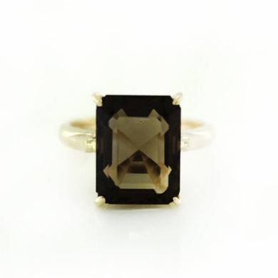 9ct Yellow Gold 7ct Smokey Quartz Ring