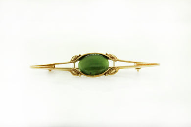 Vintage 9ct Yellow Gold Nephrite Jade Bar Brooch