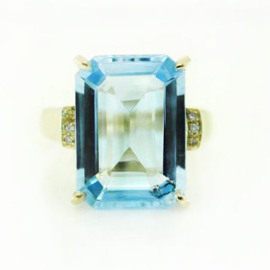 9ct Yellow Gold Swiss Blue Topaz and Diamond Cocktail Ring