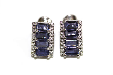 Tanzanite and Cubic Zirconia Sterling Silver Earrings