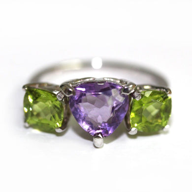 Amethyst and Peridot 9ct White Gold Ring