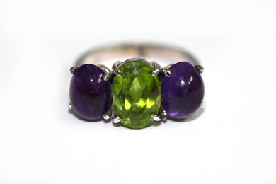 Peridot and Oval Cobochon Amethyst 9ct White Gold Ring