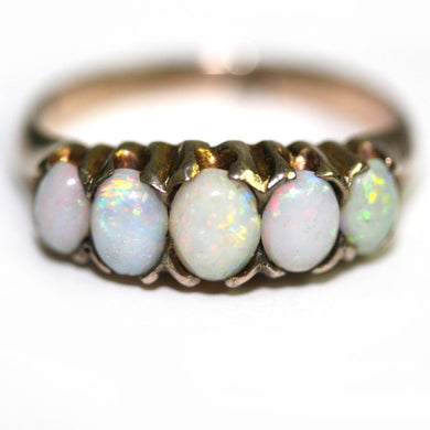 Antique 9ct Yellow Gold Solid Opal Bridge Ring