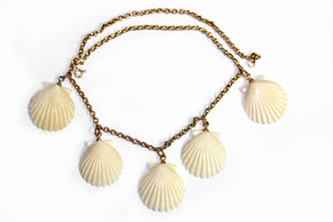 Stunning Antique Shell shaped Carved Ivory set in 9ct Yellow Gold chain Necklace