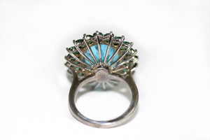 Topaz Apatite  large Cocktail  Ring in 9ct White Gold