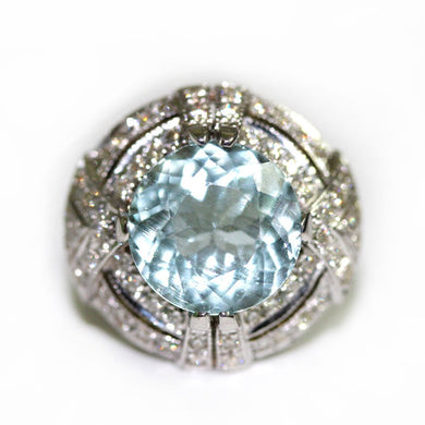 Aquamarine Diamond 9ct White Gold Ring