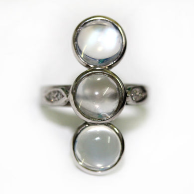 9ct White Gold Moonstone and Diamond Dress Ring