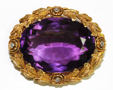 Antique 18ct Yellow Gold Amethyst and Diamond Filigree Brooch