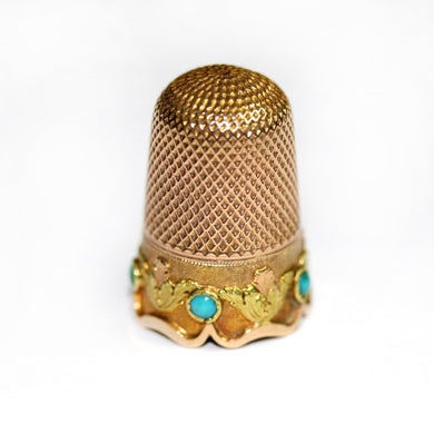 Antique 18ct Rose Gold Turquoise Thimble