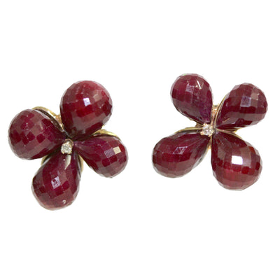 Briolette Cut Ruby 9ct Yellow Gold Earrings.