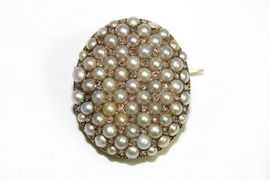 Victorian Seed Pearl Old Cut Diamond 9ct Gold Brooch