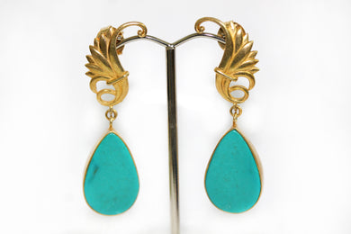 Turquoise Silver Gold Plate Drop Earrings