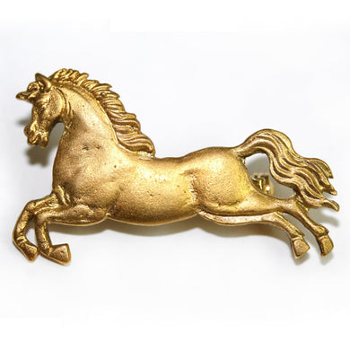 9ct Yellow Gold Horse Brooch