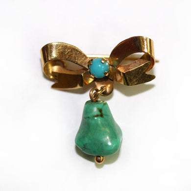 Antique 9ct Yellow Gold Turquoise Bow Brooch