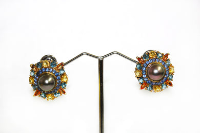 Sapphire Citrine, Pearl and Topaz Earrings