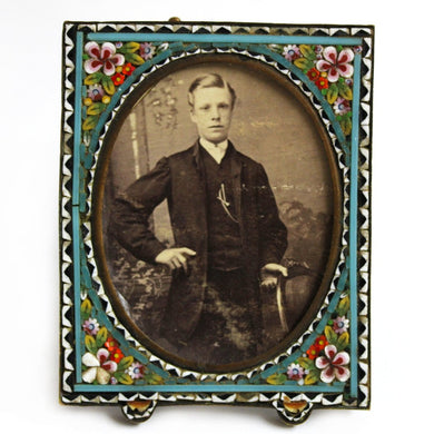 Antique Micro Mosaic Photo Frame with Original Photograph c.1910