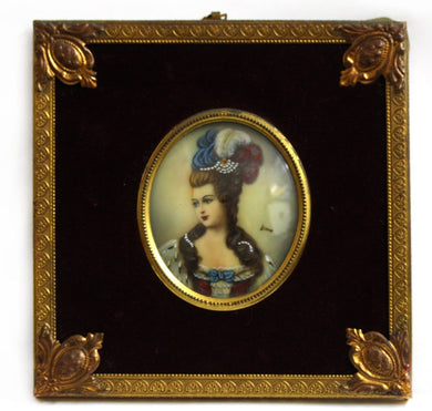 Antique French Miniature Signed Portrait