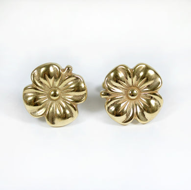 Sterling Silver Yellow Gold Plated Flower Cufflinks