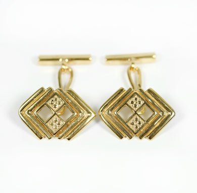 German Style Sterling Silver Yellow Gold Plated Cufflinks