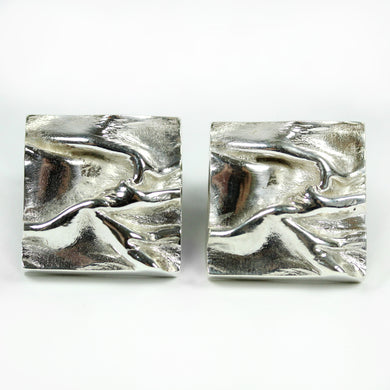 Sterling Silver Rippled Textured Cufflinks