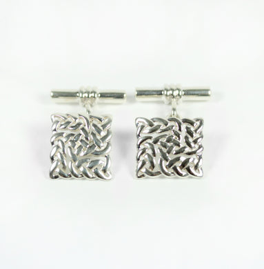 Sterling Silver Square Braided Pattern Cufflinks