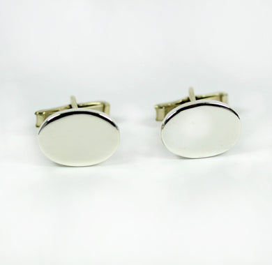 Sterling Silver Plain Oval Shaped Cufflinks