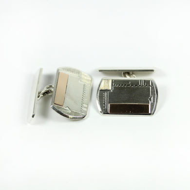 Sterling Silver Vintage European Cufflinks with Rose Gold Plate