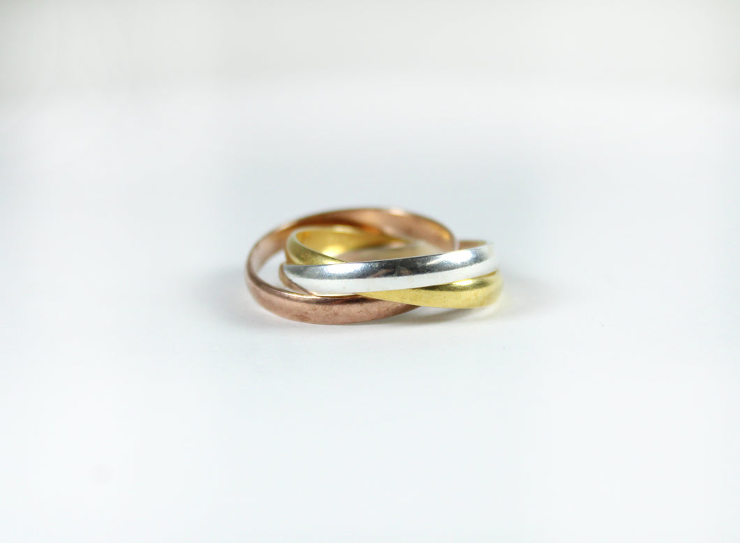 Sterling Silver, Yellow and Rose Gold Plate Russian Wedding Band Ring