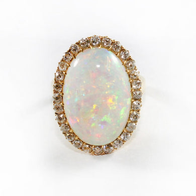 Vintage 18ct Yellow Gold Solid Mintabie Opal and Diamond Cocktail Ring