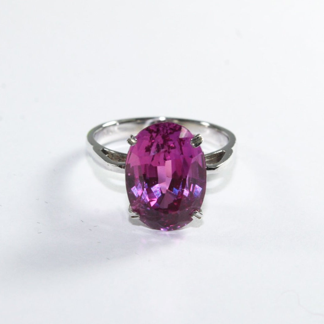 9ct White Gold Synthetic Pink Sapphire Ring
