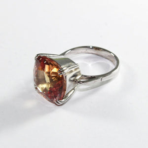 9ct White Gold Synthetic Yellow Sapphire Ring