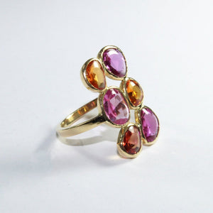 18ct Yellow Gold Orange And Pink Sapphire Dress Ring