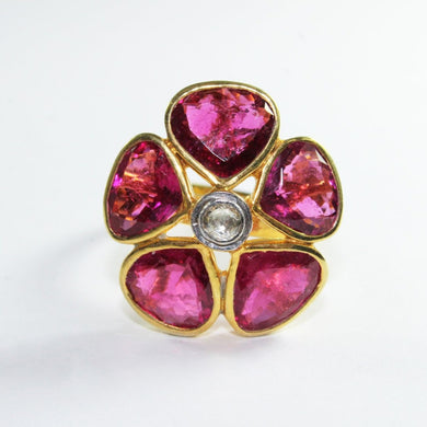 Sterling Pink Tourmaline and Diamond Floral Dress Ring