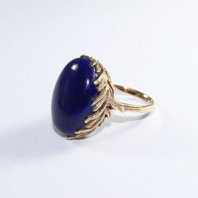 Antique 9ct Yellow Gold Lapis Lazuli Dress Ring