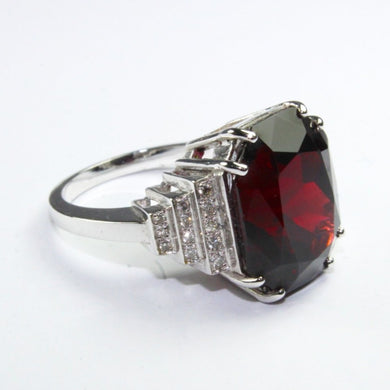 9ct White Gold 10ct Natural Garnet and Diamond Deco Style Cocktail Ring