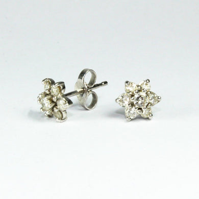 18ct White Gold Diamond Star Cluster Stud Earrings