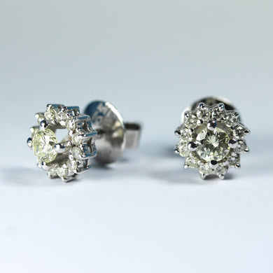 18ct White Gold Champagne Diamond Stud Earrings