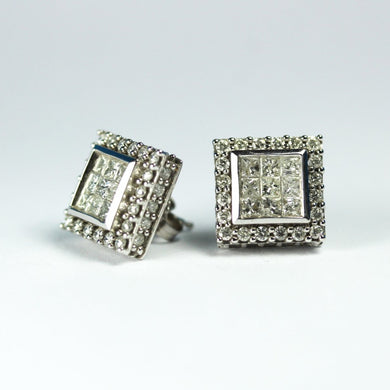 14ct White Gold Princess Cut Diamond Stud Earrings
