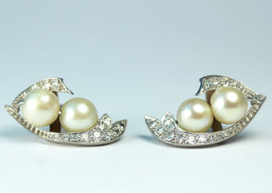Antique 18ct White Gold Cultured Pearl and Diamond Stud Earrings