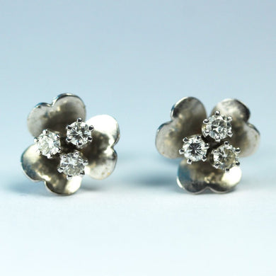 18ct White Gold Diamond Floral Stud Earrings